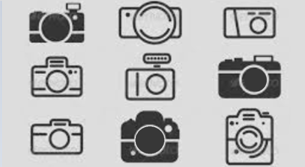 clipart of 9 different types of camera